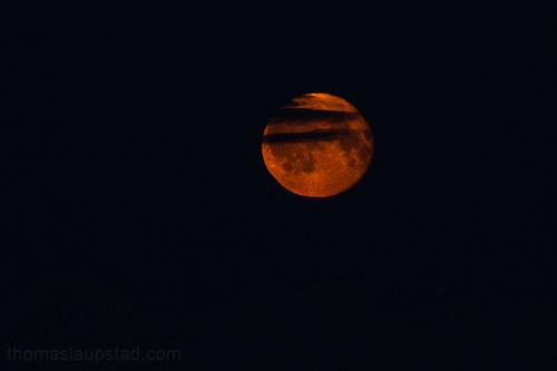 Bilde av rød måne i Nord-Norge 22. desember 2010